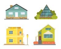 Casa de campo e ícones classificados da construção dos bens imobiliários Coleção residencial da casa no estilo novo dos desenhos  Fotografia de Stock Royalty Free