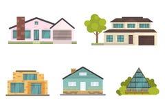 Casa de campo e ícones classificados da construção dos bens imobiliários Coleção residencial da casa no estilo novo dos desenhos  Fotografia de Stock