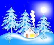Casa de campo en madera en invierno Fotos de archivo libres de regalías