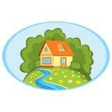 Casa de campo en un paisaje del verano del fondo stock de ilustración