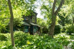 Casa de campo escondida nas madeiras na ilha de Toronto fotos de stock royalty free