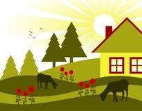 Casa de campo, flores e cabras da pastagem ilustração do vetor