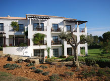 Casa de campo luxuosa branca, azeitona e céu azul Imagens de Stock