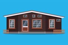 Casa de campo de madera rural escandinava aislada con las cercas en estilo plano de la historieta ilustración del vector