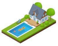 Casa de campo moderna isométrica exterior com piscina Apreciando a mulher do bronzeado no biquini e no homem no colchão inflável  ilustração stock