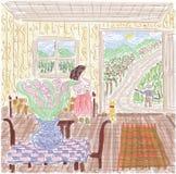 Casa de campo no campo, flores, mulher, paisagem fotografia de stock