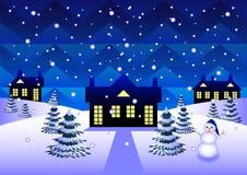 Casa de campo no inverno ilustração royalty free