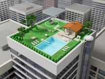 Casa de campo no telhado Foto de Stock