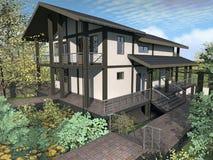 Casa de campo no terreno complexo ilustração royalty free