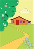Casa de campo nos subúrbios ilustração royalty free