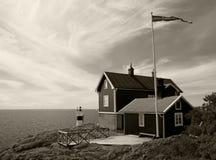 Casa de campo para o aluguel na costa do mar Báltico na Suécia Fotos de Stock Royalty Free