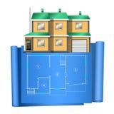 Casa de campo realística, casa privada, com plano adrawing no papel azul ilustração do vetor