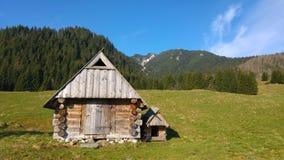 Casa de campo tradicional em um vale da montanha, Zakopane, Polônia fotografia de stock