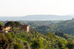 Casa de campo Tuscan com o bosque verde-oliva no primeiro plano imagens de stock royalty free