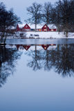 Casa de campo vermelha Imagens de Stock Royalty Free
