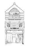 Casa de cidade inglesa velha com loja pequena ou negócio no rés do chão Rua bond, Londres esboço Imagem de Stock