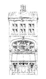 Casa de cidade inglesa velha com loja pequena ou negócio no rés do chão Rua bond, Londres esboço Imagens de Stock