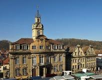 Casa de ciudad hermosa de Schwaebisch Pasillo en Alemania foto de archivo libre de regalías
