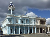 Casa de Cultura in Cienfuegos, Cuba. Neo classical museum in Cienfuegos Cuba with viewing cupola and wrought iron staircase and Italian marble floors Royalty Free Stock Photography