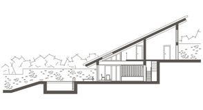 Casa de dos niveles del bosquejo arquitectónico con la piscina Dibujo seccional libre illustration