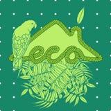 Casa de Eco com palma e papagaio ilustração do vetor