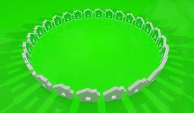 Casa de Eco en el círculo, fondo ilustración del vector