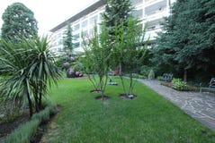 Casa de férias na perspectiva de um parque verde com as plantas decorativas e as flores bonitas Imagem de Stock