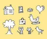 Casa de galinha do desenho da criança e imagens etc. Imagem de Stock Royalty Free