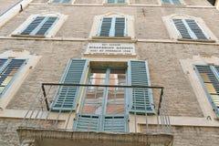 Casa de Gioacchino Rossini, Pesaro Fotografía de archivo libre de regalías