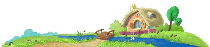Casa de hadas cerca del río libre illustration