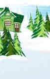 Casa de hadas verde en bosque del invierno Imagen de archivo libre de regalías