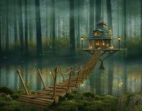 Casa de hadas y puente de madera en el río fotos de archivo