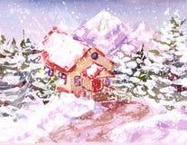 Casa de la acuarela en las montañas está nevando ilustración del vector