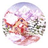 Casa de la acuarela en las montañas está nevando Imagen de archivo