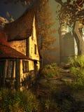 Casa de la bruja cerca de un castillo Imagen de archivo
