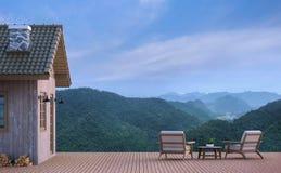 Casa de la cabina con imagen de la representación del Mountain View 3d Imagenes de archivo