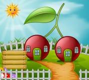 Casa de la cereza en jardín libre illustration
