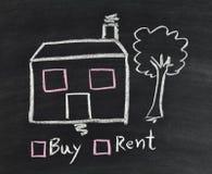 Casa de la compra o de alquiler en la pizarra Foto de archivo libre de regalías