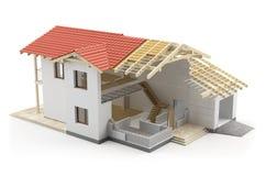 Casa de la construcción, ejemplo 3D ilustración del vector
