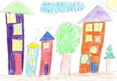 Casa de la familia Child& x27; dibujo de s Fotografía de archivo