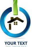 Casa de la familia, diseño casero del logotipo en el botón de encendido 3D ilustración del vector