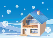 casa de la familia en el fondo del invierno Foto de archivo libre de regalías