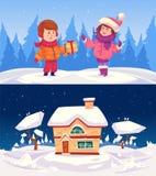 Casa de la familia Ilustración de la Feliz Navidad Fotos de archivo
