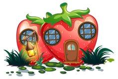 Casa de la fresa con la linterna en jardín stock de ilustración