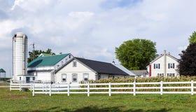 Casa de la granja con el campo y el silo foto de archivo