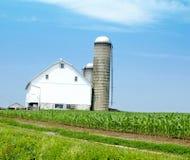 Casa de la granja con el campo y Silo de maíz Imagenes de archivo