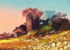 Casa de la granja en el lado del país Foto de archivo