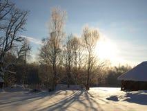 Casa de la granja en invierno Imágenes de archivo libres de regalías