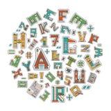 Casa de la historieta del alfabeto Foto de archivo