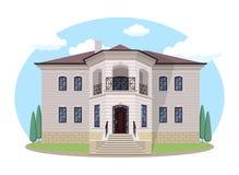 Casa de la historieta exterior con estilo nublado azul del diseño de Front Home Architecture Concept Flat del cielo Ejemplo del v ilustración del vector